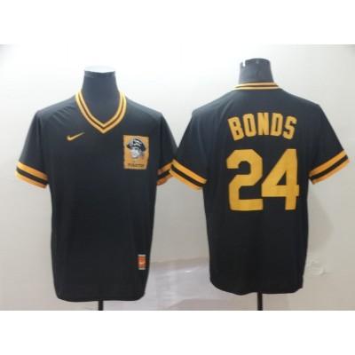 MLB Pirates 24 Barry Bonds Black Nike Cooperstown Collection Legend V-Neck Men Jersey