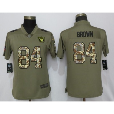 Nike Raiders 84 Antonio Brown Olive Camo Salute to Service Limited Women Jersey
