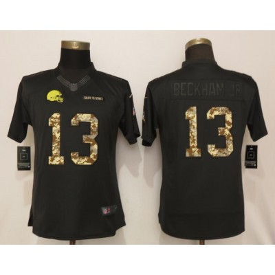 Nike Browns 13 Odell Beckham Jr Black Camo Salute to Service Limited Women Jersey