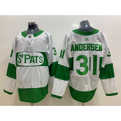 NHL Leafs 31 Frederik Andersen White 2019 St. Patrick's Day Adidas Men Jersey