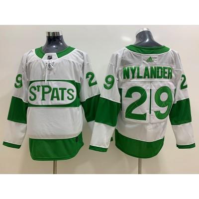 NHL Leafs 29 William Nylander White 2019 St. Patrick's Day Adidas Men Jersey