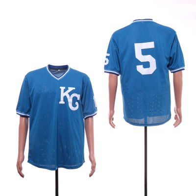 MLB Royals 5 George Brett Light Blue Mesh BP Men Jersey