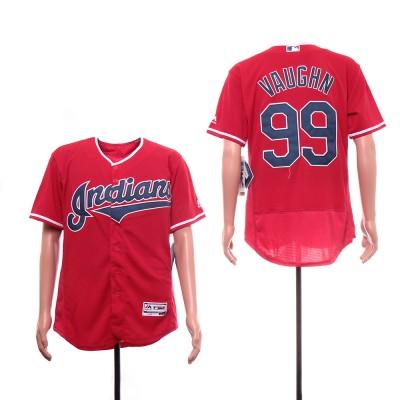 MLB Indians 99 Ricky Vaughn Navy Red Flexbase Men Jersey