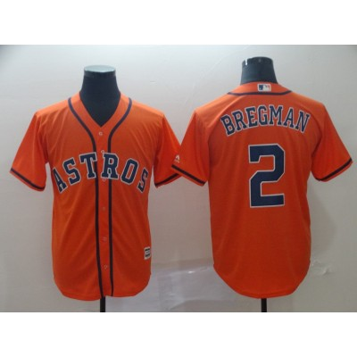 MLB Astros 2 Alex Bregman Orange Cool Base Men Jersey