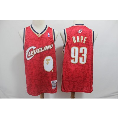 Comfortable Monkey Cleveland Cavaliers 93 BAPE Red Men Jersey