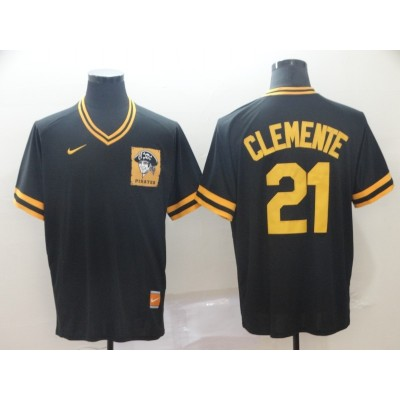 MLB Pirates 21 Roberto Clemente Black Nike Cooperstown Collection Legend V-Neck Men Jersey