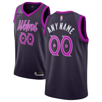 NBA Timberwolves Purple City Edition Customized Nike Men Jersey