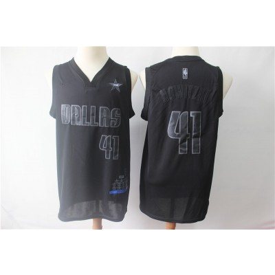 NBA Mavericks 41 Dirk Nowitzk Black MVP Honorary Edition NikeMen Jersey