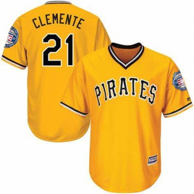 MLB Pirates 21 Roberto Clemente Yellow 2019 Hall of Fame Induction Patch Throwback Men Jersey