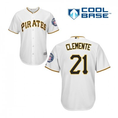 MLB Pirates 21 Roberto Clemente White 2019 Hall of Fame Induction Patch Cool Base Men Jersey