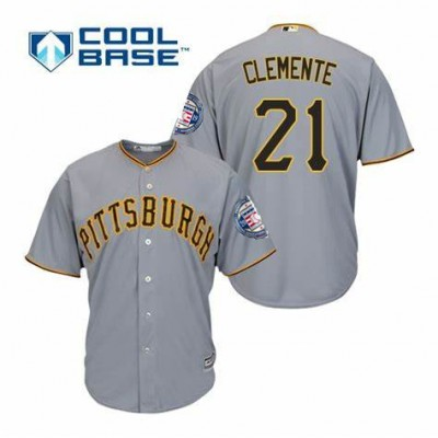 MLB Pirates 21 Roberto Clemente Gray 2019 Hall of Fame Induction Patch Cool Base Men Jersey
