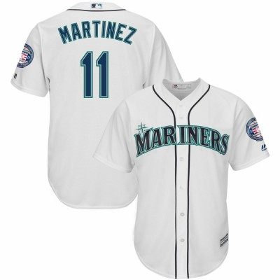 MLB Mariners 11 Edgar Martinez White 2019 Hall of Fame Induction Patch Cool Base Men Jersey