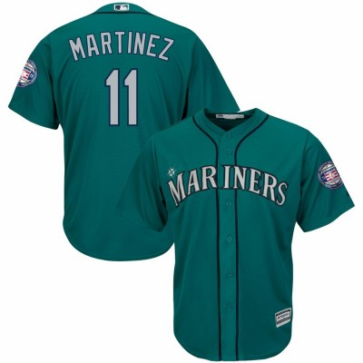 MLB Mariners 11 Edgar Martinez Green 2019 Hall of Fame Induction Patch Cool Base Men Jersey