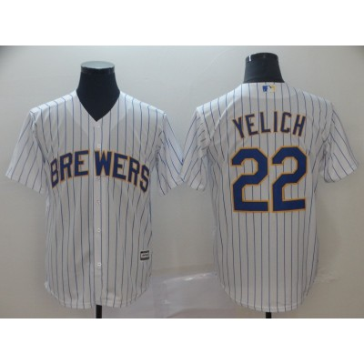 MLB Brewers 22 Christian Yelich White Cool Base Men Jersey