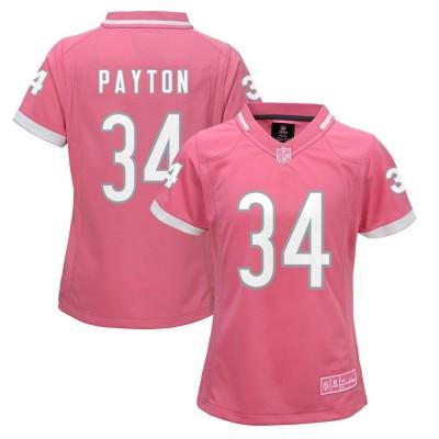 Nike Bears 34 Walter Payton Pink Bubble Gum Women Jersey