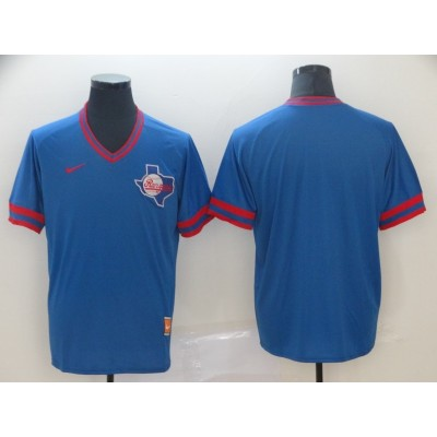 MLB Rangers Blank Blue Nike Cooperstown Collection Legend V-Neck Men Jersey