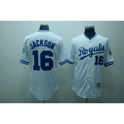 MLB Royals 16 Bo Jackson White Thrwoback Mitchell and Ness Men Jersey
