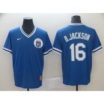 MLB Royals 16 Bo Jackson Blue Nike Cooperstown Collection Legend V-Neck Men Jersey