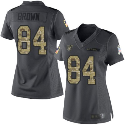 Nike Raiders 84 Antonio Brown Anthracite Salute to Service Limited Women Jersey