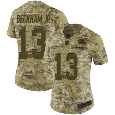 Nike Browns 13 Odell Beckham Jr 2018 Camo Salute to Service Limited Women Jersey
