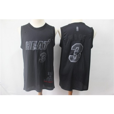 NBA Heat 3 Dwyane Wade Black MVP Honorary Edition Nike Men Jersey