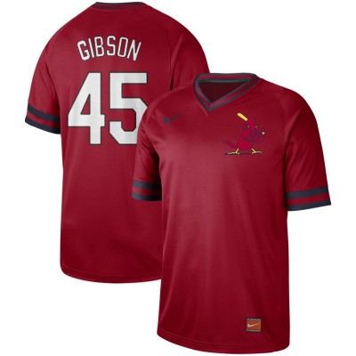 MLB Cardinals 45 Bob Gibson Red Nike Cooperstown Collection Legend V-Neck Men Jersey