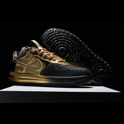 Air Force 1 Shoes Men Black/Golden Running Weapon Shoes