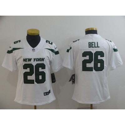 Nike Jets 26 Le'Veon Bell White New 2019 Vapor Untouchable Limited Women Jersey