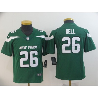 Nike Jets 26 Le'Veon Bell Green New 2019 Vapor Untouchable Limited Youth Jersey