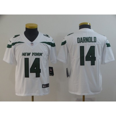 Nike Jets 14 Sam Darnold White New 2019 Vapor Untouchable Limited Youth Jersey