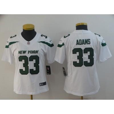 Nike Jets 33 Jamal Adams White New 2019 Vapor Untouchable Limited Women Jersey