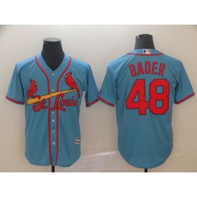 MLB Cardinals 48 Harrison Bader Light Blue Cool Base Men Jersey