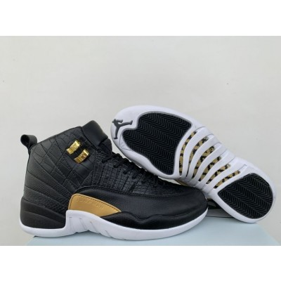 "Air Jordan 12 ""Reptile"" Black/Metallic Gold-White Shoes"
