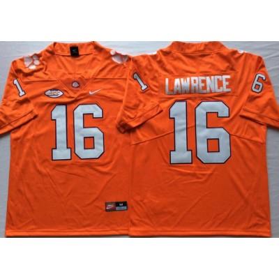 NCAA Clemson Tigers 16 Trevor Lawrence Orange College Football Legend Limited Men Jersey