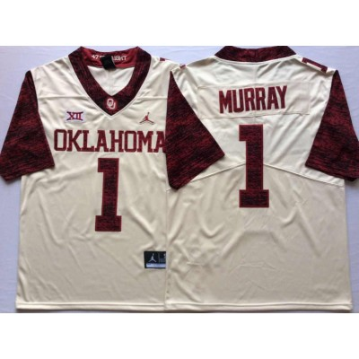 NCAA Oklahoma Sooners Jordan 1 Kyler Murray White College Football Limited White Men Jersey