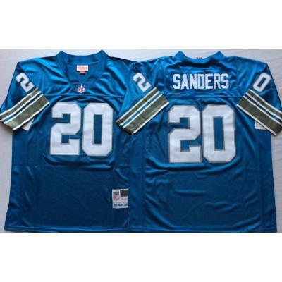 NFL Lions 20 Barry Sanders Blue M&N Throwback Men Jersey