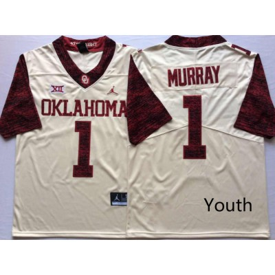NCAA Oklahoma Sooners Jordan 1 Kyler Murray White College Football Limited White Youth Jersey