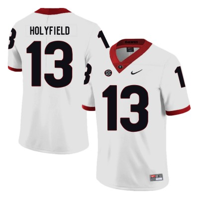 NCAA Georgia Bulldogs 13 Elijah Holyfield White Nike College Football Men Jersey