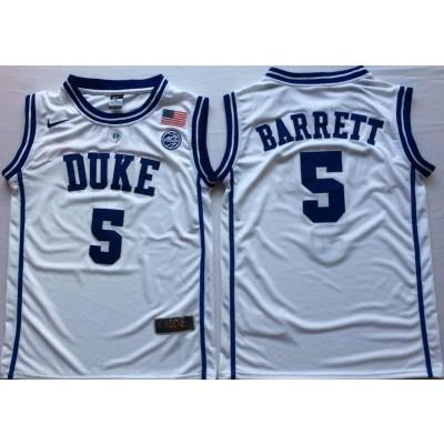 NCAA Duke Blue Devils 5 RJ Barrett White Nike College Basketball Men Jersey
