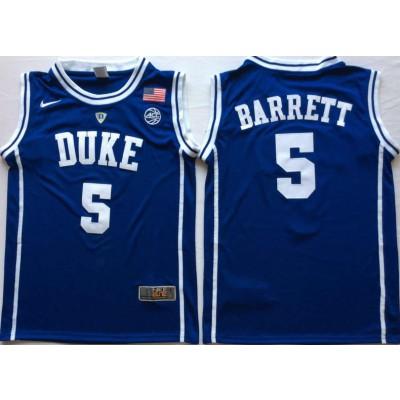 NCAA Duke Blue Devils 5 RJ Barrett Blue Nike College Basketball Men Jersey