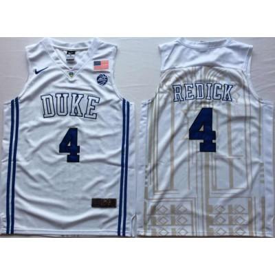 NCAA Duke Blue Devils 4 JJ Redick White Elite Nike College Basketball Men Jersey
