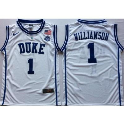 NCAA Duke Blue Devils 1 Zion Williamson White Nike College Basketball Men Jersey