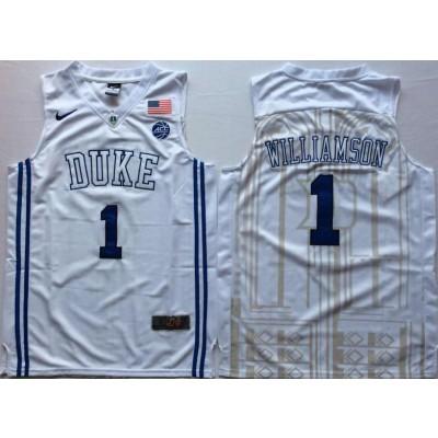 NCAA Duke Blue Devils 1 Zion Williamson White Nike College Basketball Elite Men Jersey