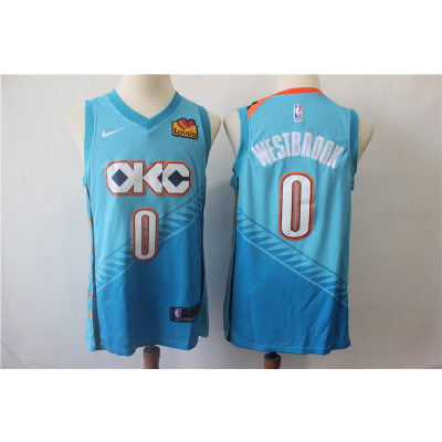 NBA Thunder 0 Russell Westbrook Light Blue City Edition Nike Men Jersey With Love Logo