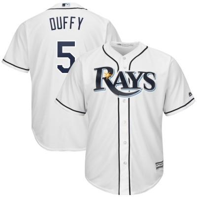 MLB Rays 5 Matt Duffy White Cool Base Men Jersey