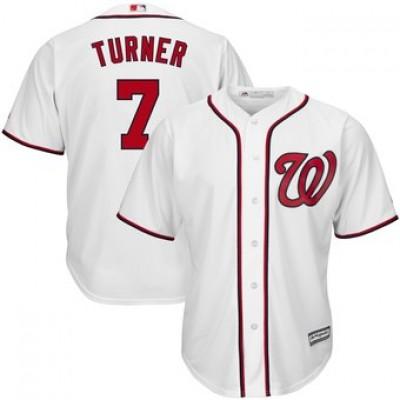 MLB Nationals 7 Trea Turner White Cool Base Men Jersey