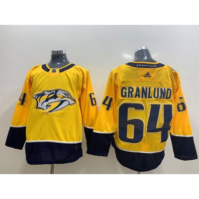 NHL Predators 64 Mikael Granlund Yellow Adidas Men Jersey