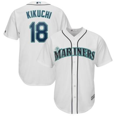 MLB Mariners 18 Yusei Kikuchi White Cool Base Men Jersey