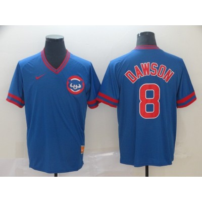 MLB Cubs 8 Andre Dawson Blue Nike Cooperstown Collection Legend V-Neck Men Jersey