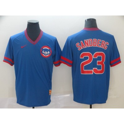 MLB Cubs 23 Ryne Sandberg Blue Nike Cooperstown Collection Legend V-Neck Men Jersey